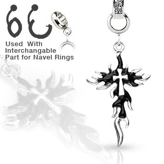 Multi Purpose Add-On Jet CZ Black Flaming Cross Dangle Charm