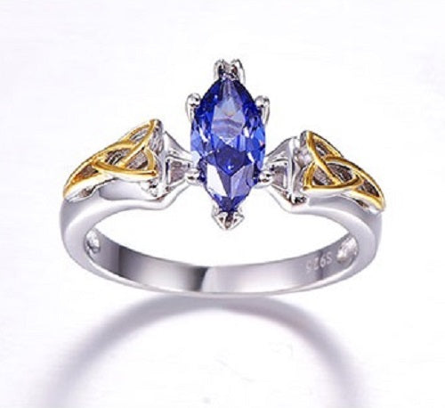 Genuine 925 Sterling Silver Marquise Solitare Tanzanite Ring - Gemwaith