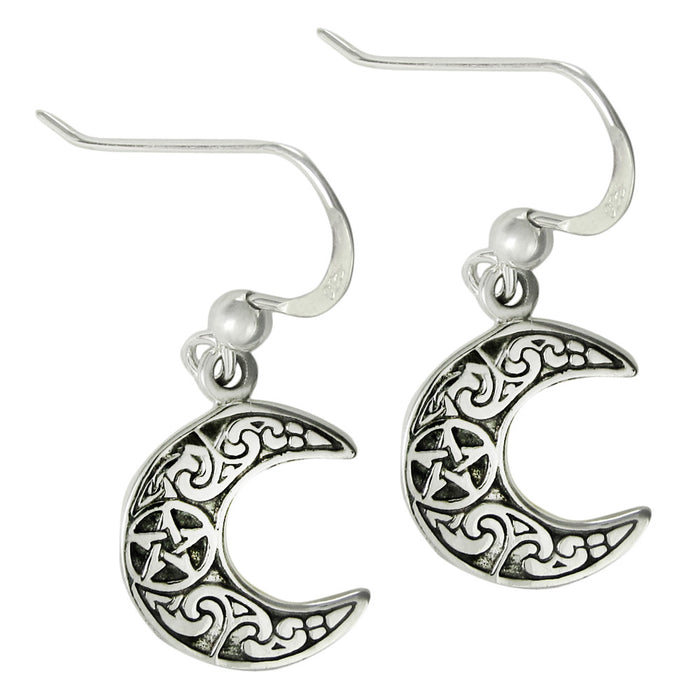 925 Sterling Silver Horned Moon Pentacle Earrings - Gemwaith