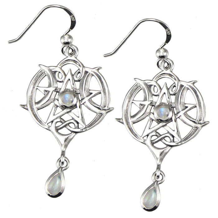 925 Sterling Silver Heart Pentacle Earrings with Rainbow Moonstone - Gemwaith