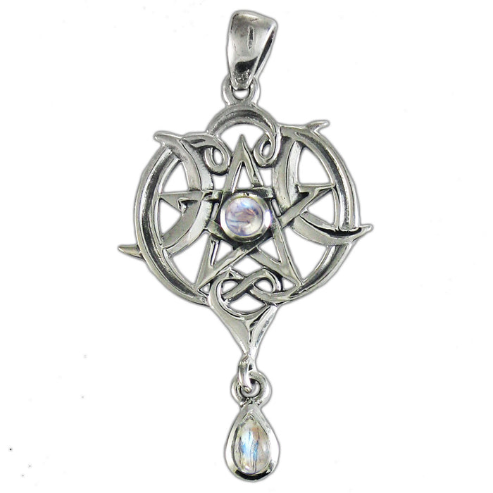 925 Sterling Silver Small Heart Pentacle Pendant with Rainbow Moonstone - Gemwaith