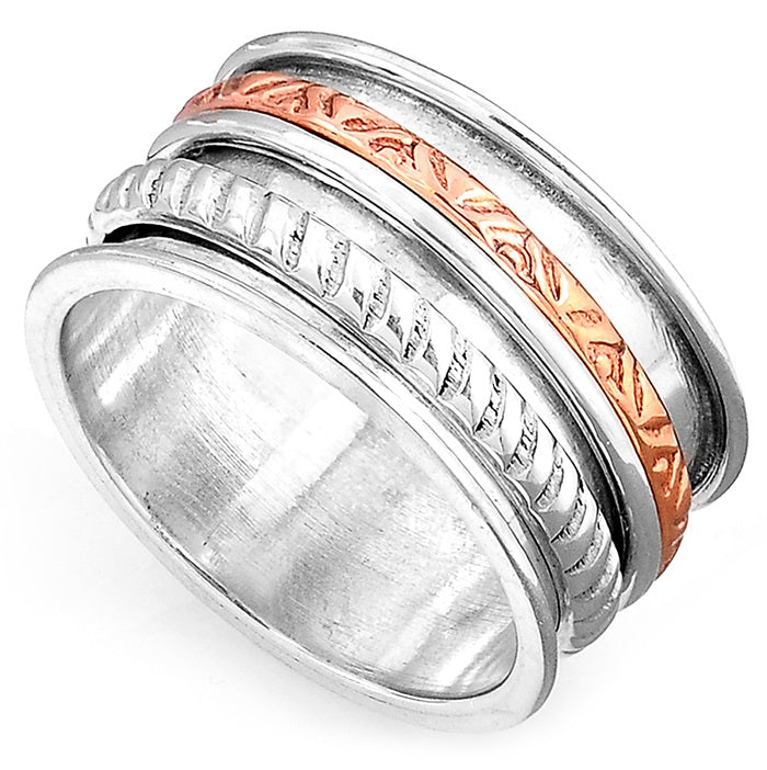 Genuine 925 Sterling Silver, Copper & Sterling Silver Spinner Ring - Gemwaith