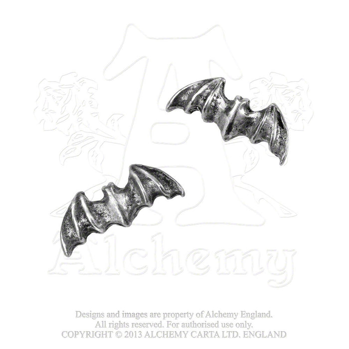 Alchemy Bat Studs Earrings - Pair - Gemwaith
