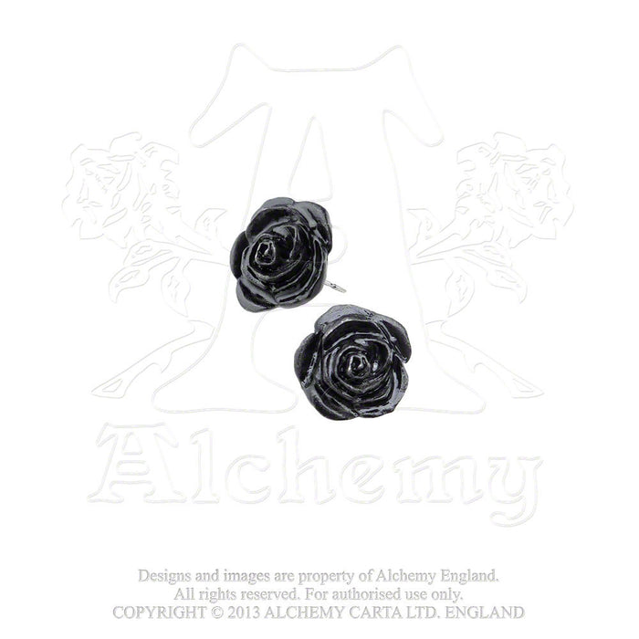 Alchemy Black Rose Stud Earrings - Pair - Gemwaith