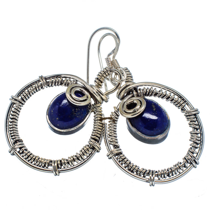 Genuine 925 Sterling Silver Lapis Lazuli Earrings - Gemwaith