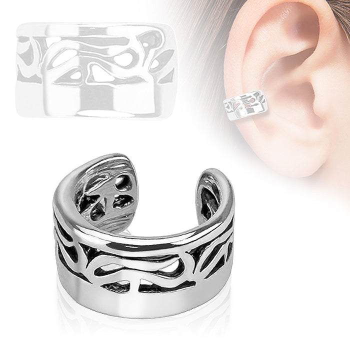 Tribal Design Rhodium Plated Brass Non Piercing Ear Cuff