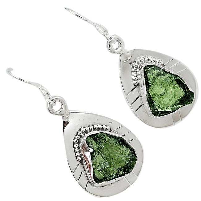Genuine 925 Sterling Silver Natural Green Moldavite (Genuine Czech) Earrings - Gemwaith