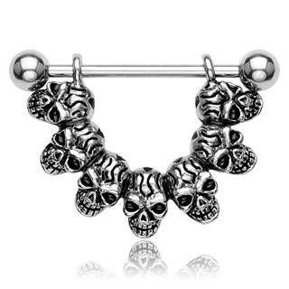 """Lucky 7"" Skull Link 316L Surgical Steel Nipple Shield - Gemwaith"