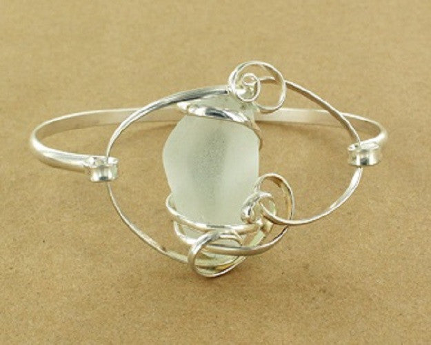 *Limited Edition* Sea Foam (Light Green) Sea Glass Swirl Bracelet - Gemwaith