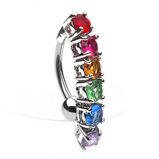 Rainbow CZ Top Drop Belly Ring - Gemwaith