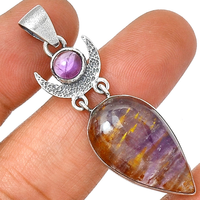 Amethyst & Cacoxenite - Crescent Moon - 925 Sterling Silver Pendant - Gemwaith
