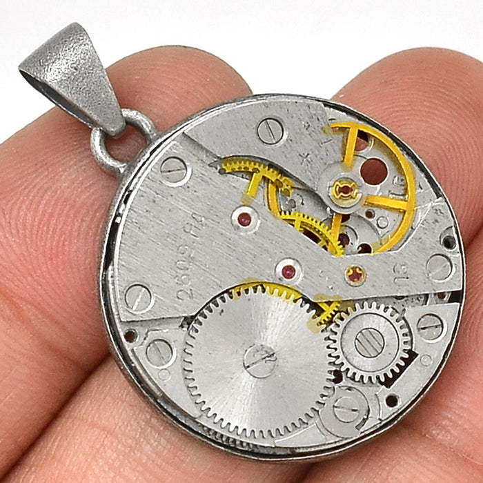 Steampunk 925 Sterling Silver Pendant - Gemwaith