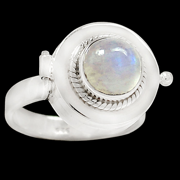 Genuine 925 Sterling Silver Rainbow Moonstone Poison Ring - Gemwaith