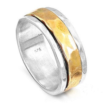 925 Sterling Silver Hammered Spinner Ring Gold Spinning Band Size 7.5 - Gemwaith