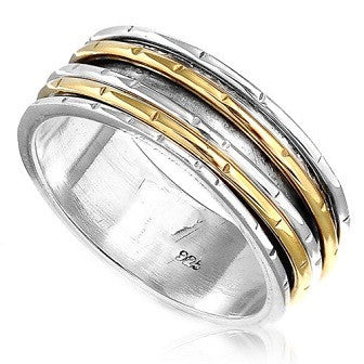 925 Sterling Silver and Gold Wide Spinner Ring - Size 6.5 - Gemwaith