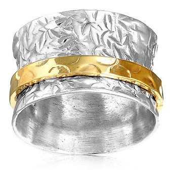 925 Sterling Silver Leaf Wide Spinner Ring Gold Band - Size 6 - Gemwaith