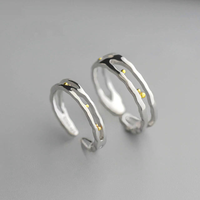 S925 Sterling Silver Classic Waves Gold Dots/Beads Rings - Gemwaith
