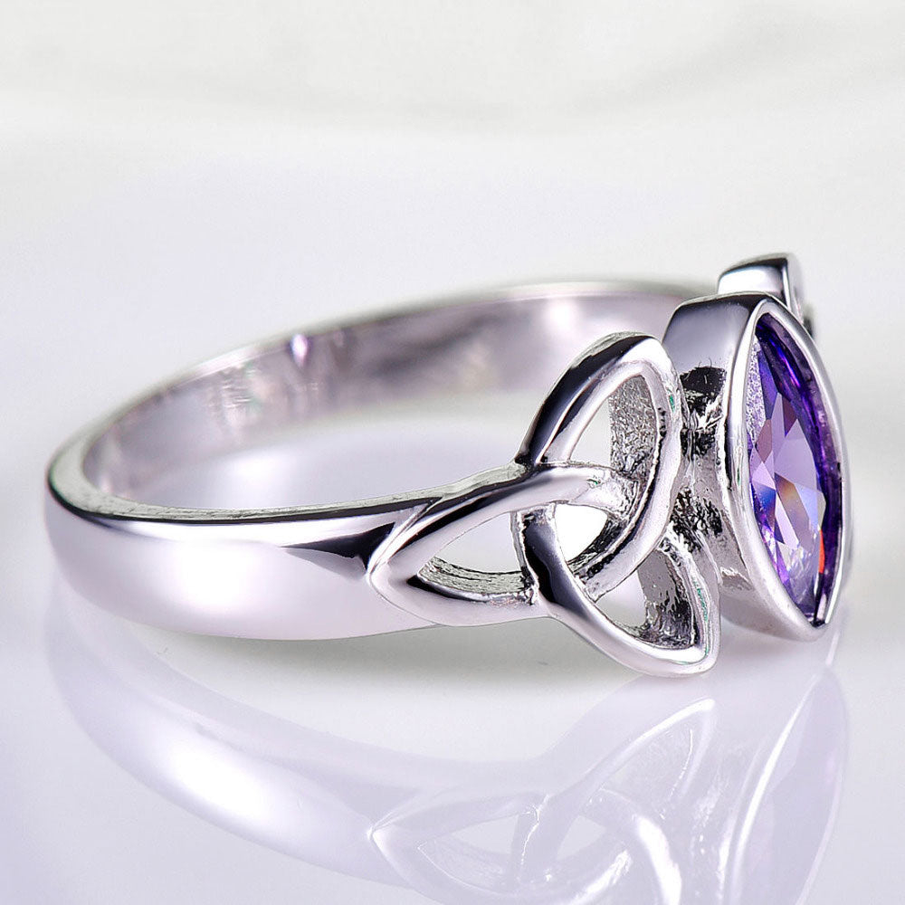 Celtic Knot Amethyst 18K White Gold Plated Ring - Gemwaith