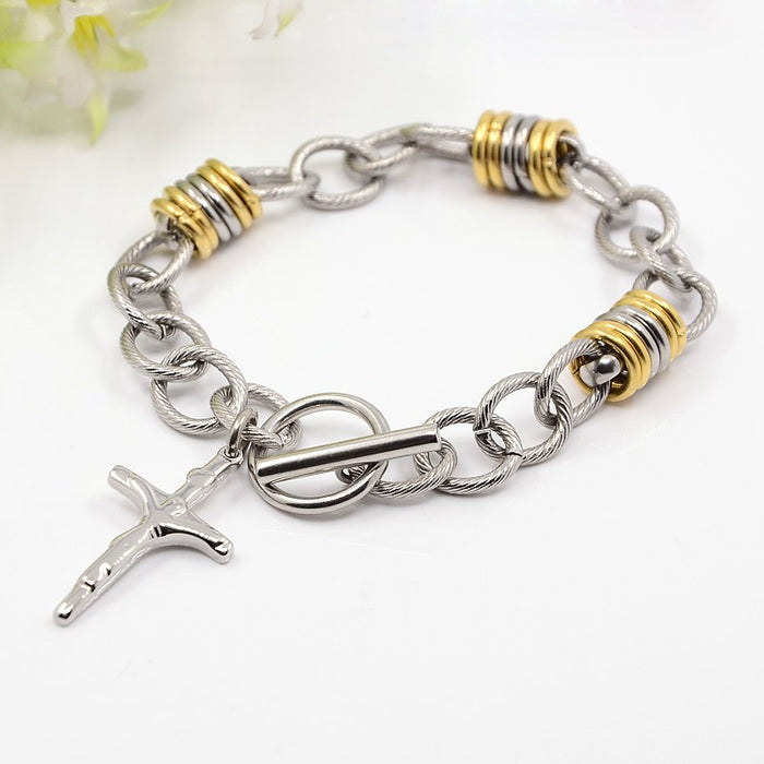 304 Stainless Steel Bracelet with Crucifix Cross - Gemwaith