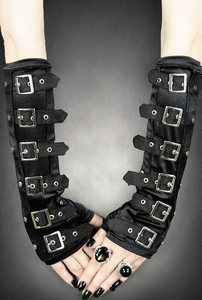Gothic Arm Warmer Gloves With Buckles - Gemwaith