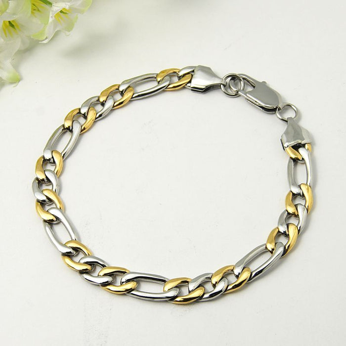 Two Tone 304L Stainless Steel and Gold Plated Figaro Bracelet - Gemwaith