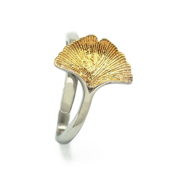 Handmade Yellow Golden Ginkgo Leaf 925 Sterling Silver Adjustable Ring - Gemwaith