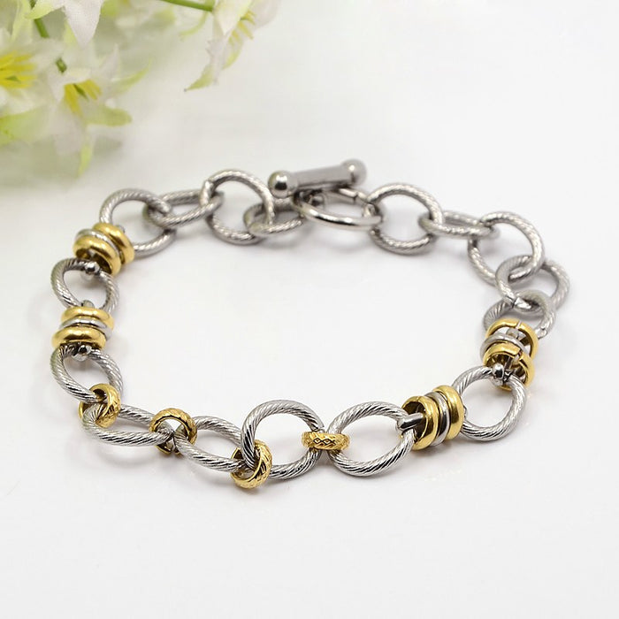 304L Stainless Steel and Gold Colour Link Bracelet - Gemwaith
