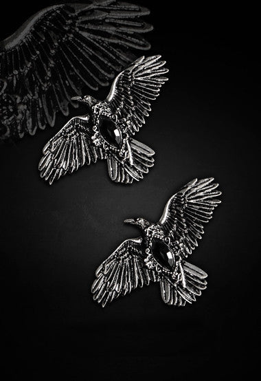"""Black Diamond Ravens"" Gothic Hair Clips - Pair - Gemwaith"