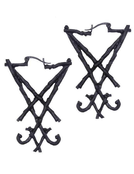 """Black Lucifer"" Sigil Gothic Hoop Earrings - Gemwaith"
