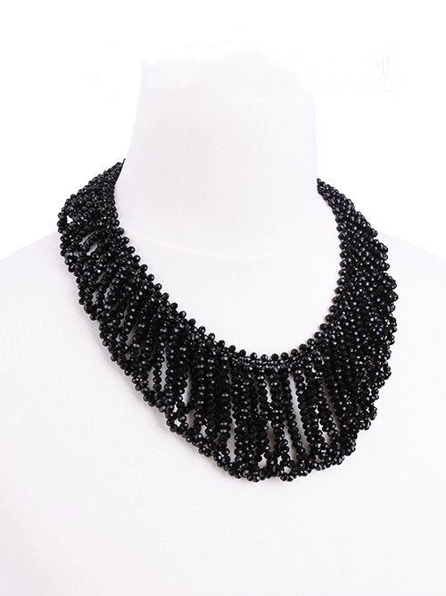 """FRANCES CHOKER"" Black Beaded Choker - Gemwaith"