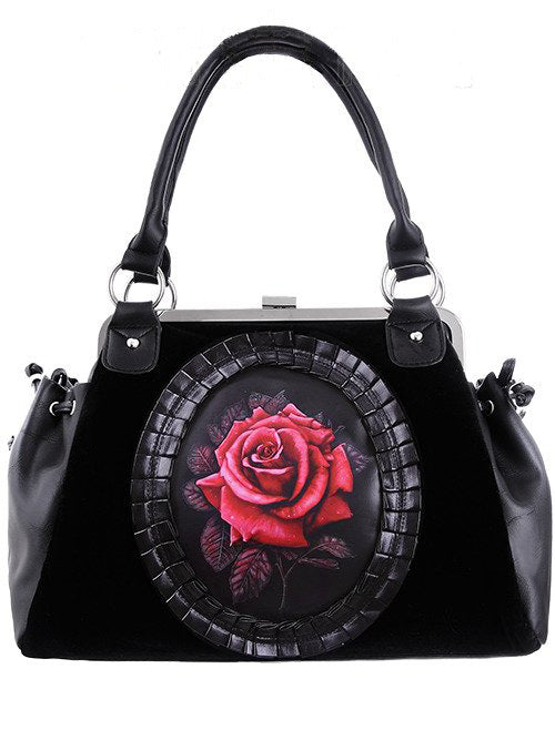 """RED ROSE"" Black Velvet Handbag - Gemwaith"