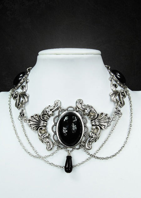 Black Victorian Choker With Black Cabochons - Gemwaith
