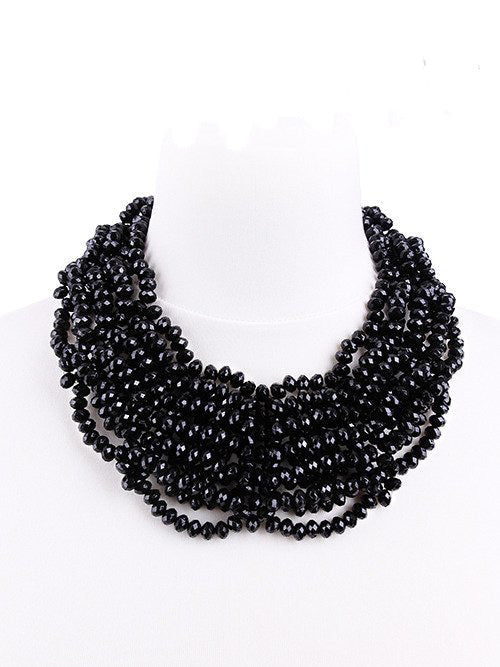 """LAURA CHOKER"" Black Beaded Spiderweb Choker - Gemwaith"