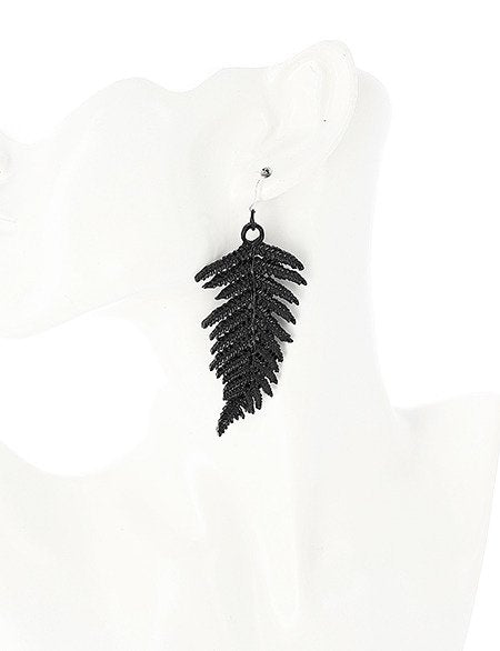 FERN EARRINGS BLACK - Gemwaith