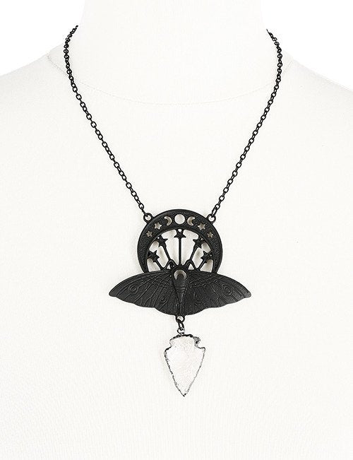 CRYSTAL MOON MOTH BLACK NECKLACE - Gemwaith