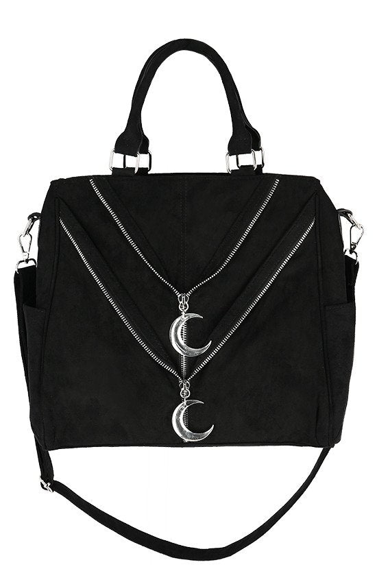 Double Zipped Gothic Moon Bag
