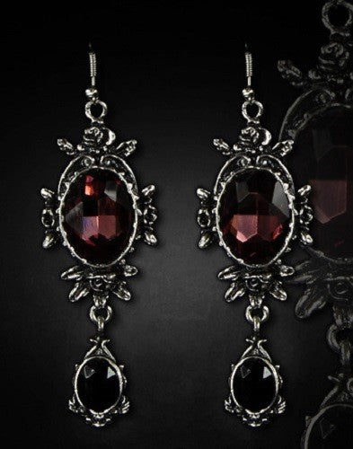 """Wild Roses"" Evening Gothic Romantic Earrings - Gemwaith"