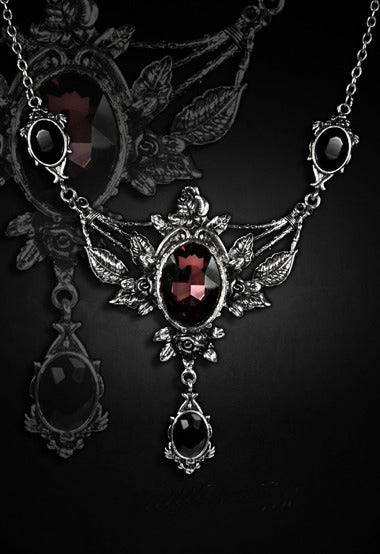 """WILD ROSES"" Roses And Burgundy Stone Evening Necklace - Gemwaith"