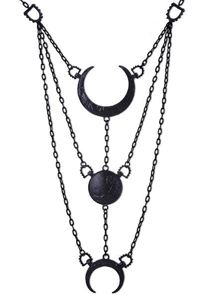 """MOON PHASES BLACK NECKLACE"" Long Luna Crescent Pendant - Gemwaith"