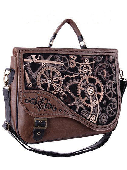 """BROWN MECHANISM"" Steampunk Satchel Bag - Gemwaith"