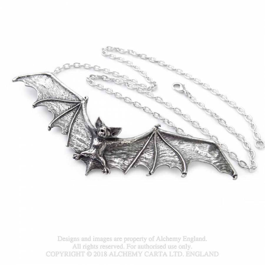Alchemy Gothic Bat Necklace - Gemwaith