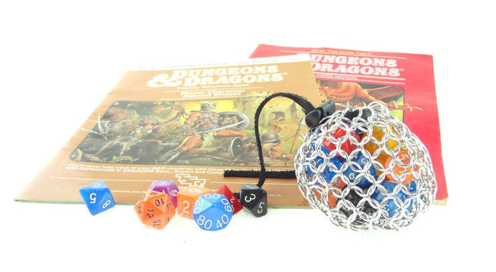 Silver Chainmaille Dice Bag For Dungeons And Dragons or Magic The Gathering