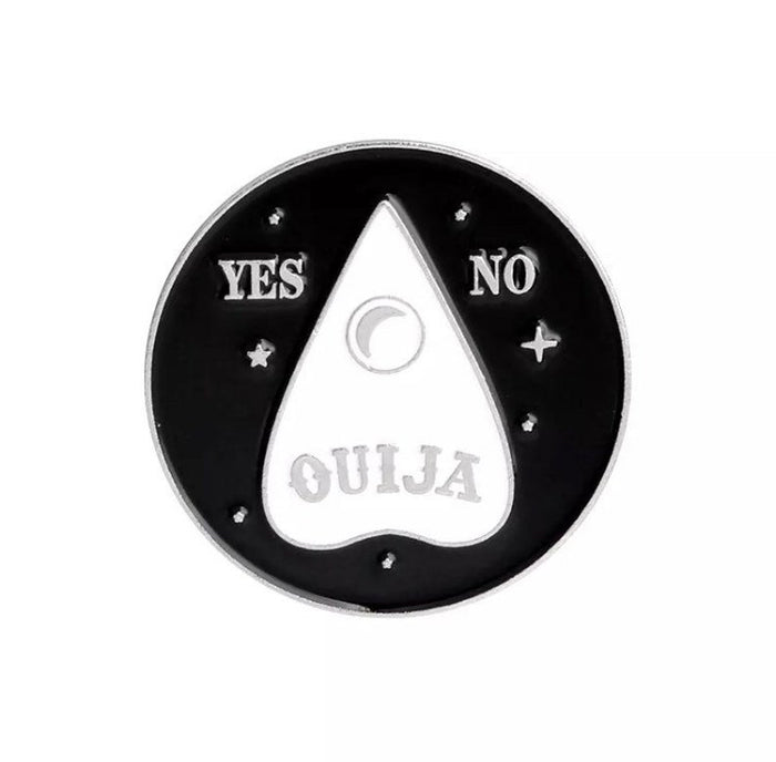 Ouija (Yes/No) Black and White Enamel Pin - Gemwaith