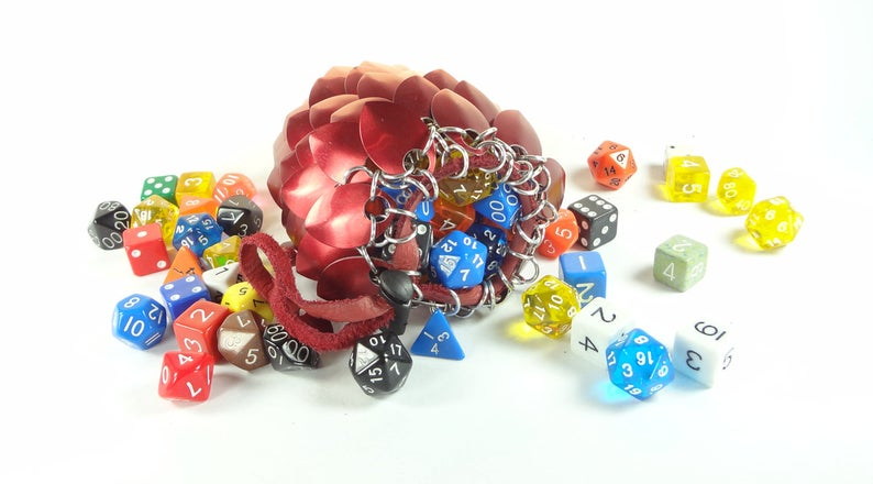 Dungeons & Dragons Scalemaille and Chainmaille Aluminium Dice Bags