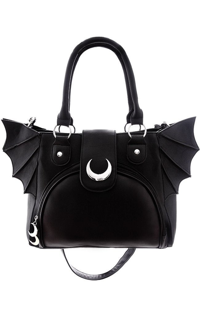"""ELEGANT GOTH PURSE"" Moon Bat Bag - Gemwaith"