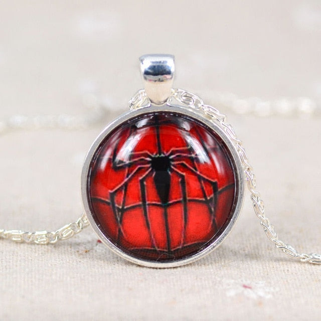 Spiderman Picture Glass Cabochon Pendant Necklace