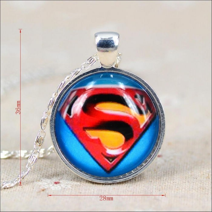 Superman Picture Glass Cabochon Pendant Necklace