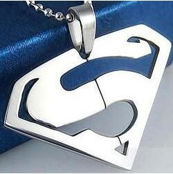 Free Chain 316L Stainless Steel Superman Pendant Necklace