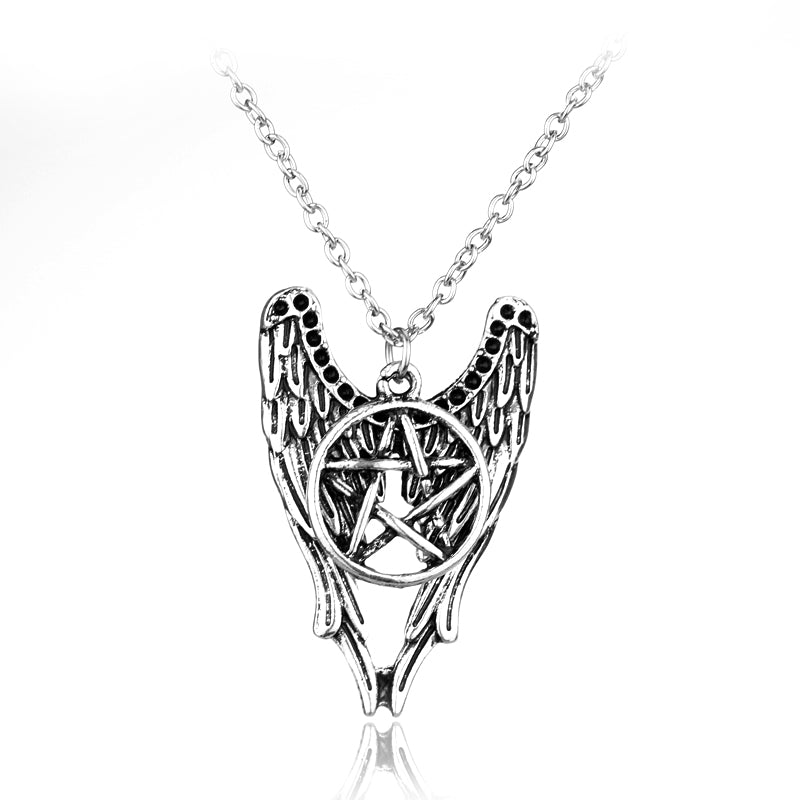 Antique Silver Wiccan Pentacle Angel Wing Pendant