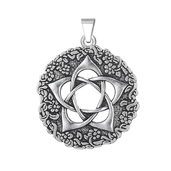 Pentacle of the Goddess Star Rose Wiccan Pendant - Gemwaith